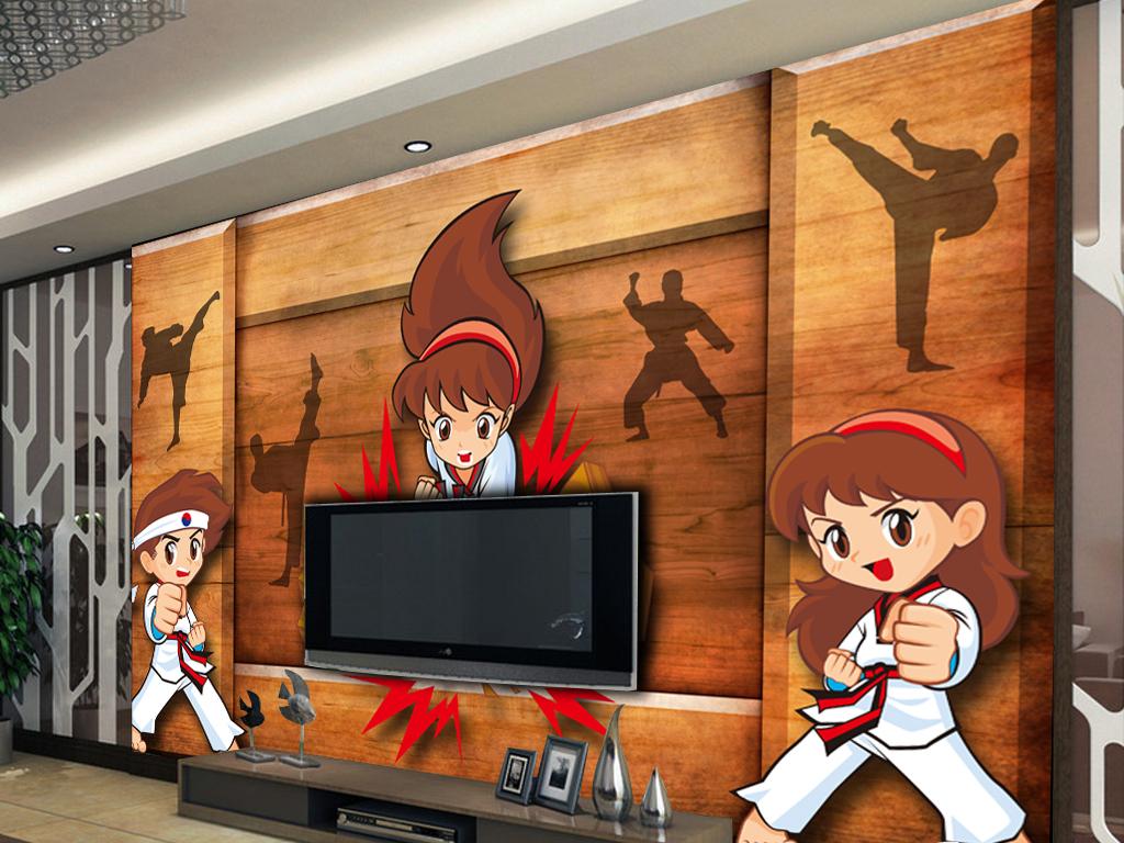 3d木板背景手绘跆拳道工装背景墙