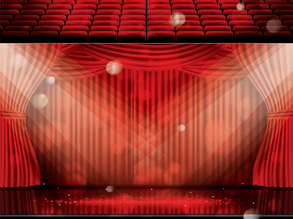 背景 广告背景 几何/扁平 > 红色舞台幕布聚光灯下的座椅矢量海报背景