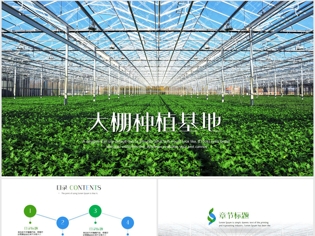 原生态大棚蔬菜种植基地ppt动态模板