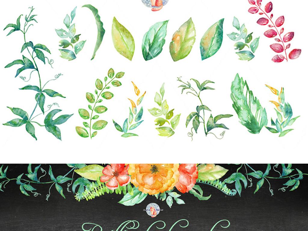 清新手绘花卉花朵绿叶红花png素材
