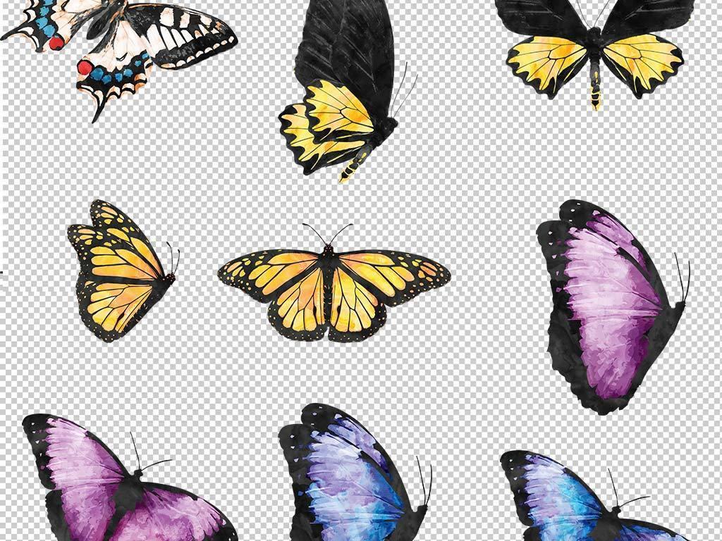 设计作品简介: 美丽卡通手绘蝴蝶设计元素 位图, rgb格式高清大图