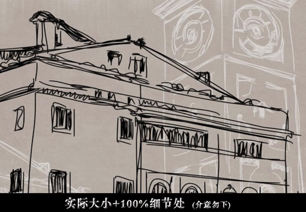 高清手绘素描老上海江南街景全屋背景墙壁画