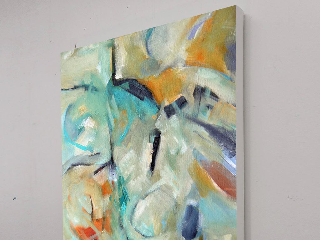 蓝色黄色色块涂鸦抽象装饰画