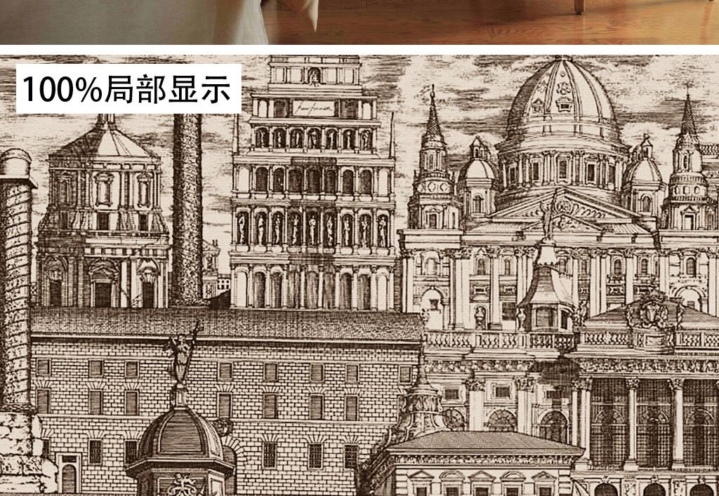 欧式复古怀旧手绘黑白城堡墙纸壁画背景墙