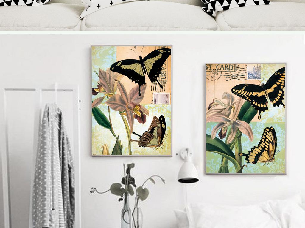 背景墙|装饰画 无框画 动物图案无框画 > 北欧复古经典蝴蝶四联装饰画