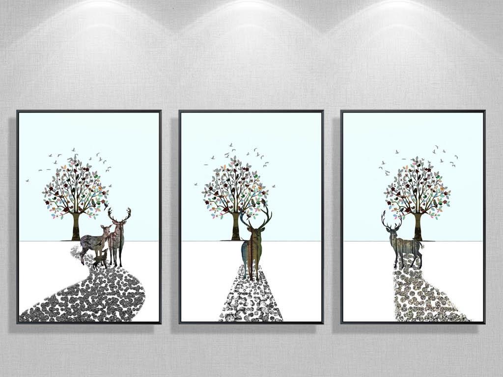 北欧简约黑白麋鹿树林装饰画意境抽象无框画