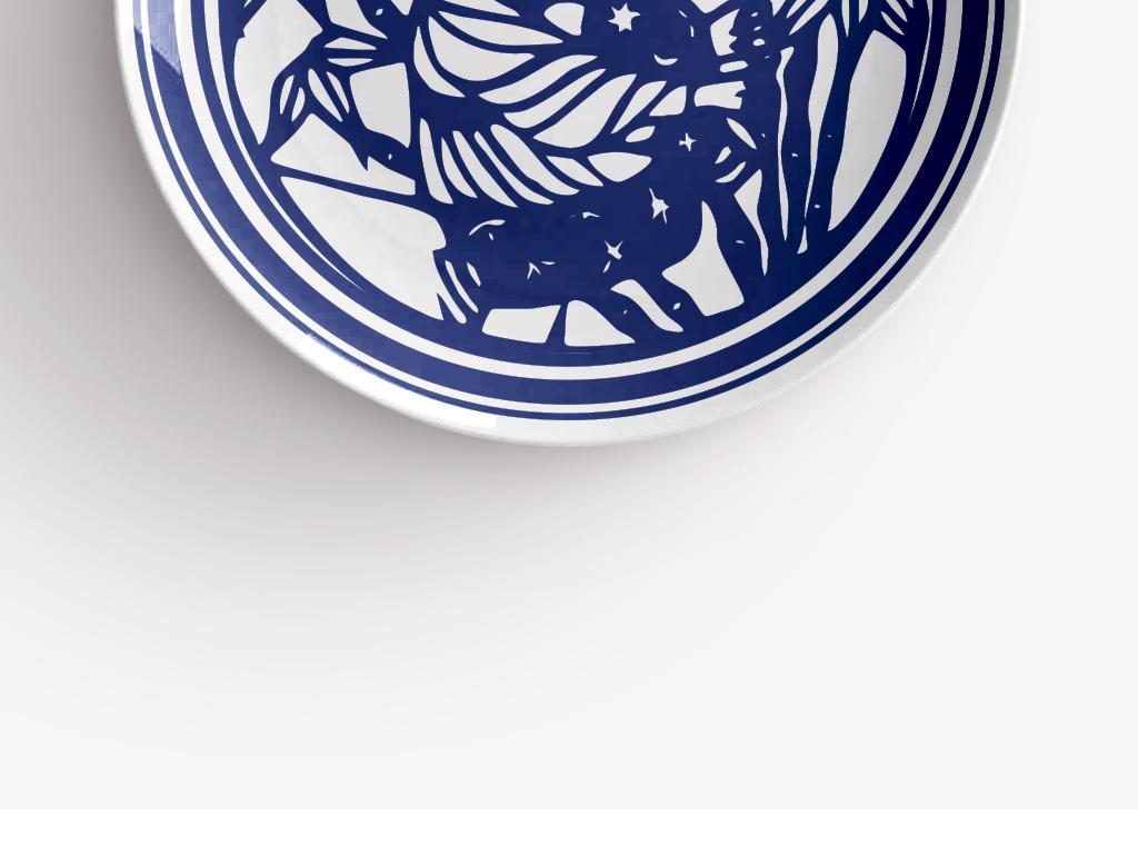 中国传统人物青花瓷圆盘图案