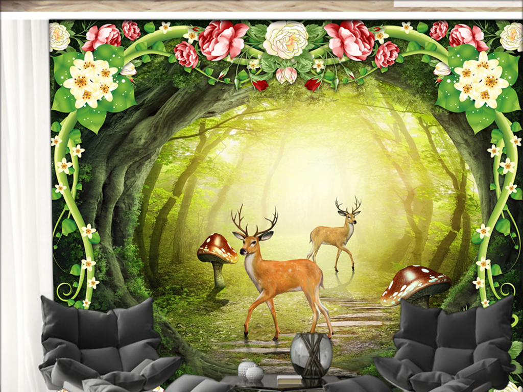 绿色梦幻原始森林小路背景墙