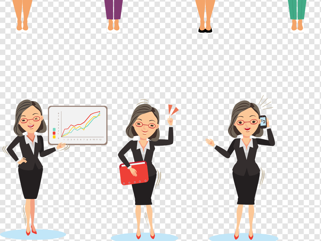 ai png扁平化手绘女商人商务女士人物形象设计素材