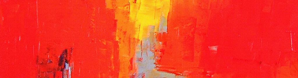 红色黄色色块涂鸦抽象装饰画