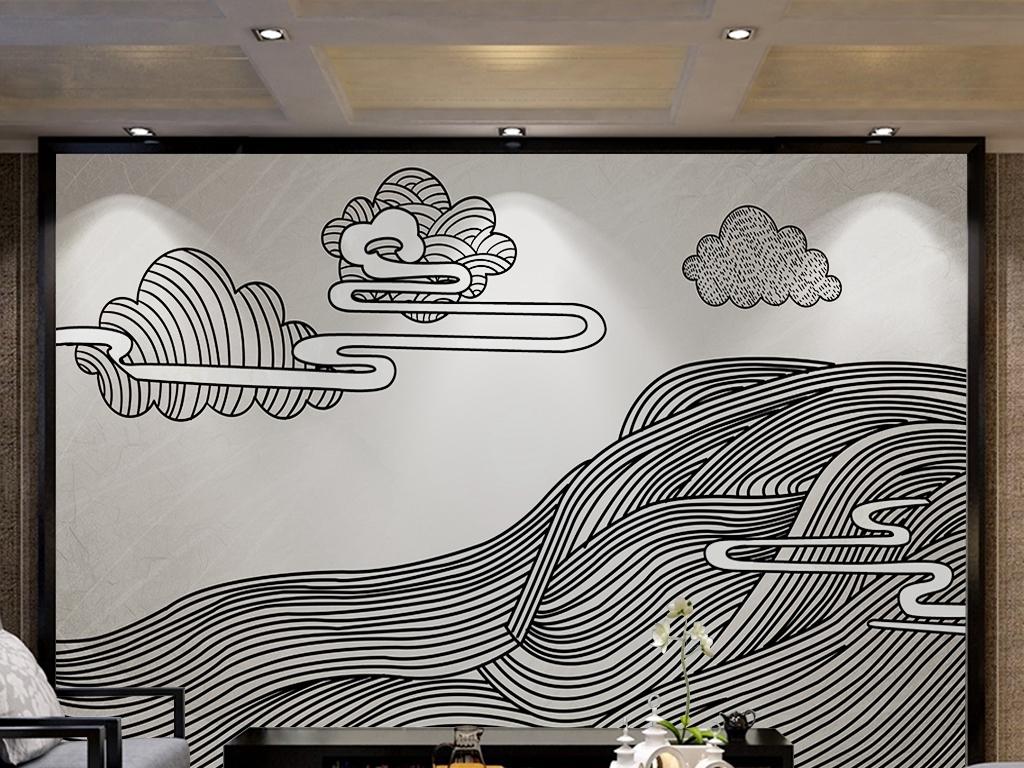 背景墙 电视背景墙 手绘电视背景墙 > 简约黑白线条抽象山水祥云背景