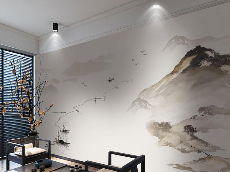 新中式水墨山水电视沙发背景墙
