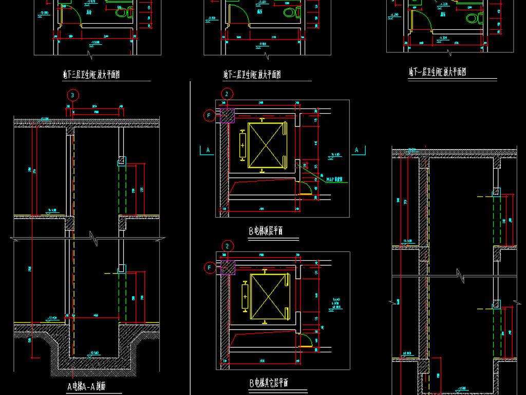 六套厕所CAD建筑设计图