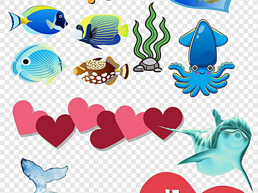 动物卡通海洋鱼                                  海洋小鱼海洋里的
