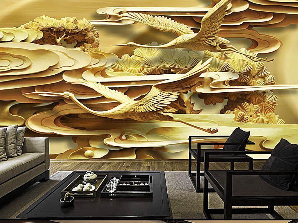 金色古典仙鹤祥云木雕浮雕木刻中国风背景墙