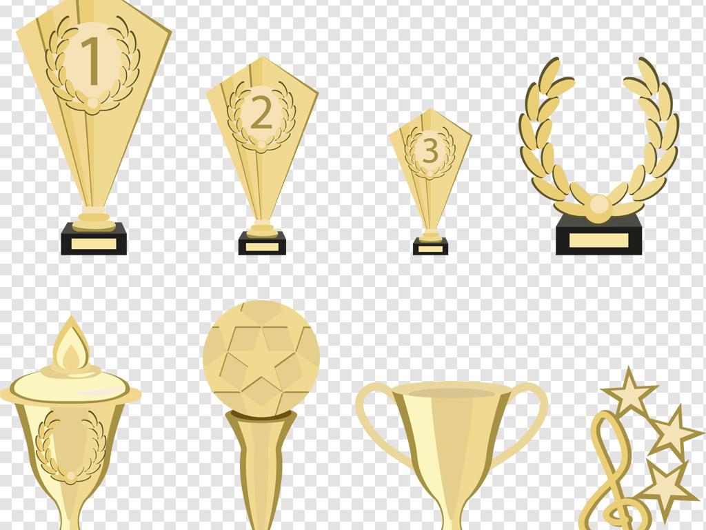 ai png扁平化手绘金色奖杯海报设计素材