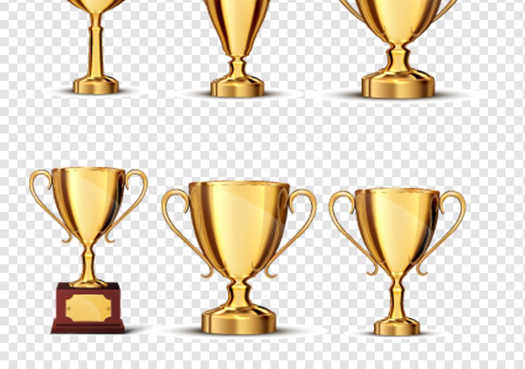 ai+png扁平化手绘金色奖杯海报设计素材