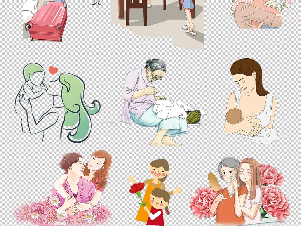 感恩母亲节母亲母亲节手绘人物妈妈和宝宝母亲节特惠