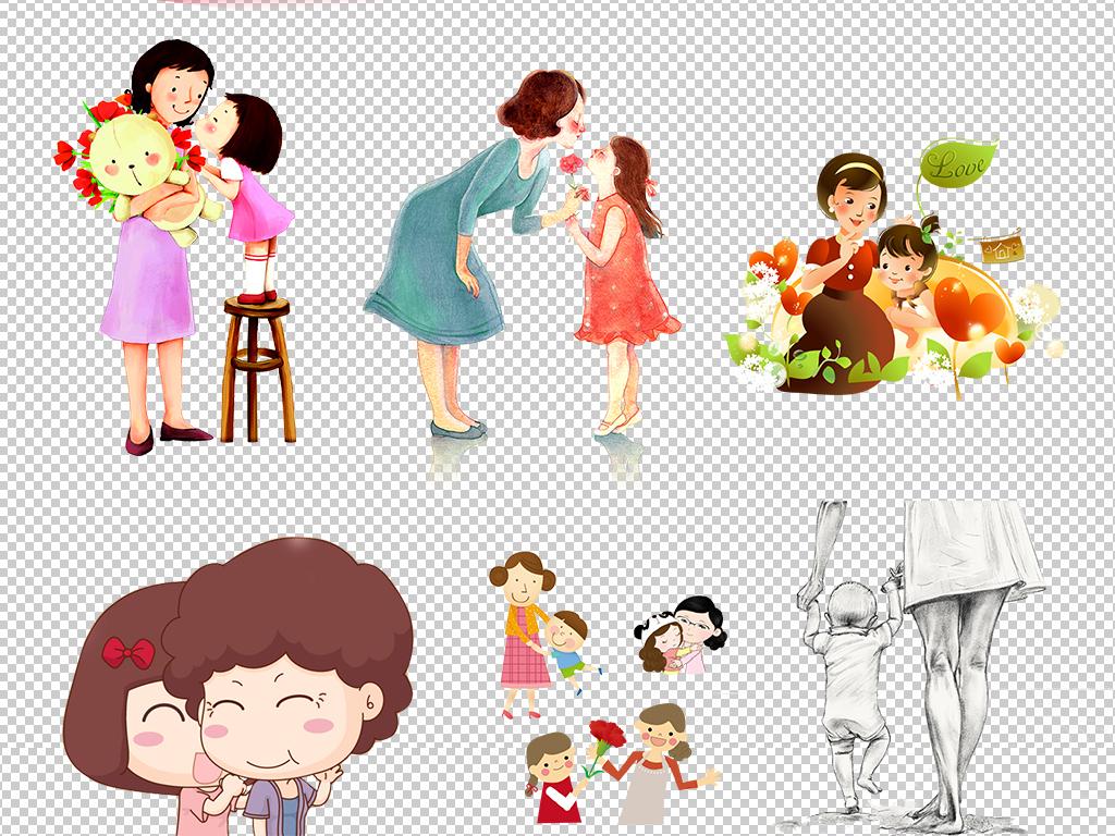 母亲节手绘母亲人物节日海报png免抠素材