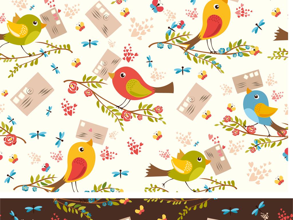 彩色鸟装饰画素材花鸟手绘手绘水彩鸟语花香卡通素材素材可爱可爱卡通