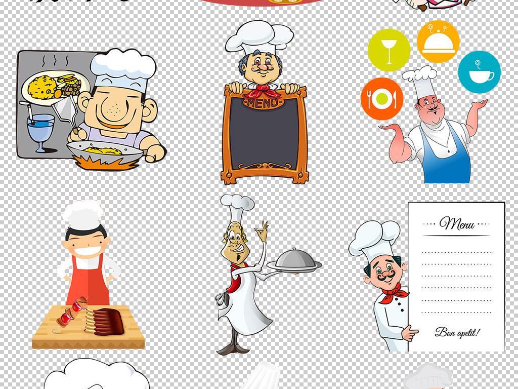 卡通厨师手绘小厨师厨师帽png背景图片