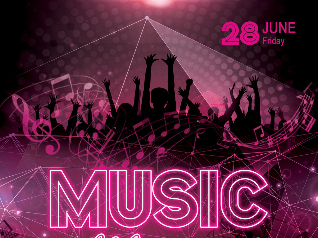 平面 广告设计 海报设计 国外创意海报 > 动感霓虹电子音乐节演唱会宣