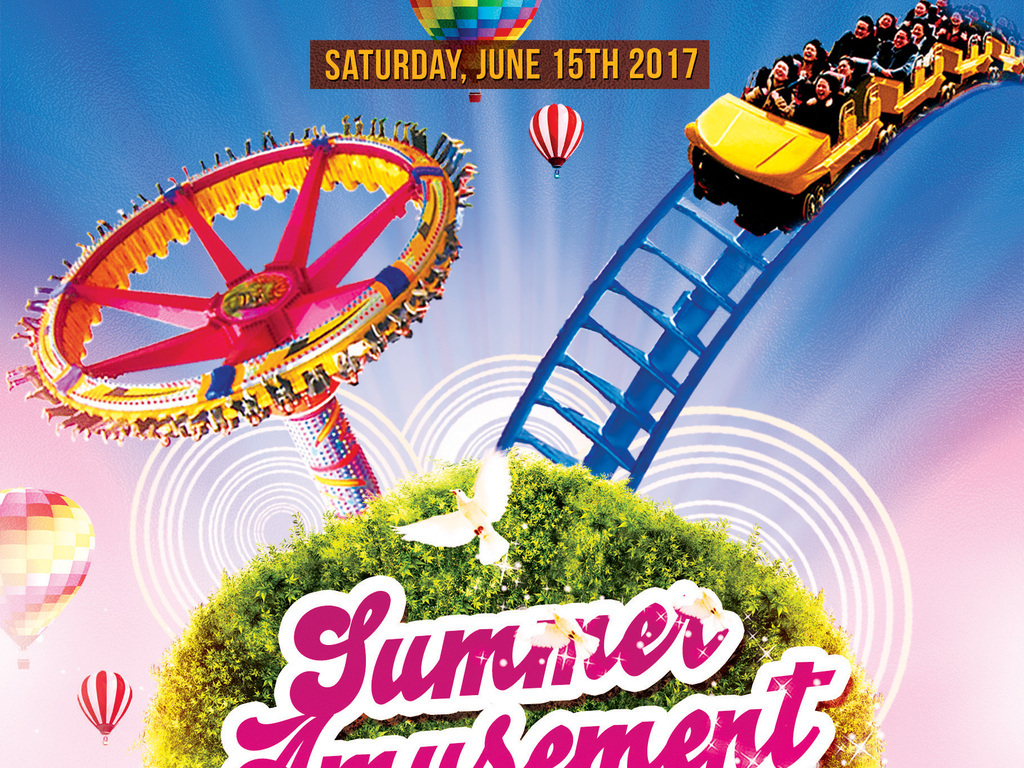欢乐夏季儿童游乐场游乐园活动创意海报