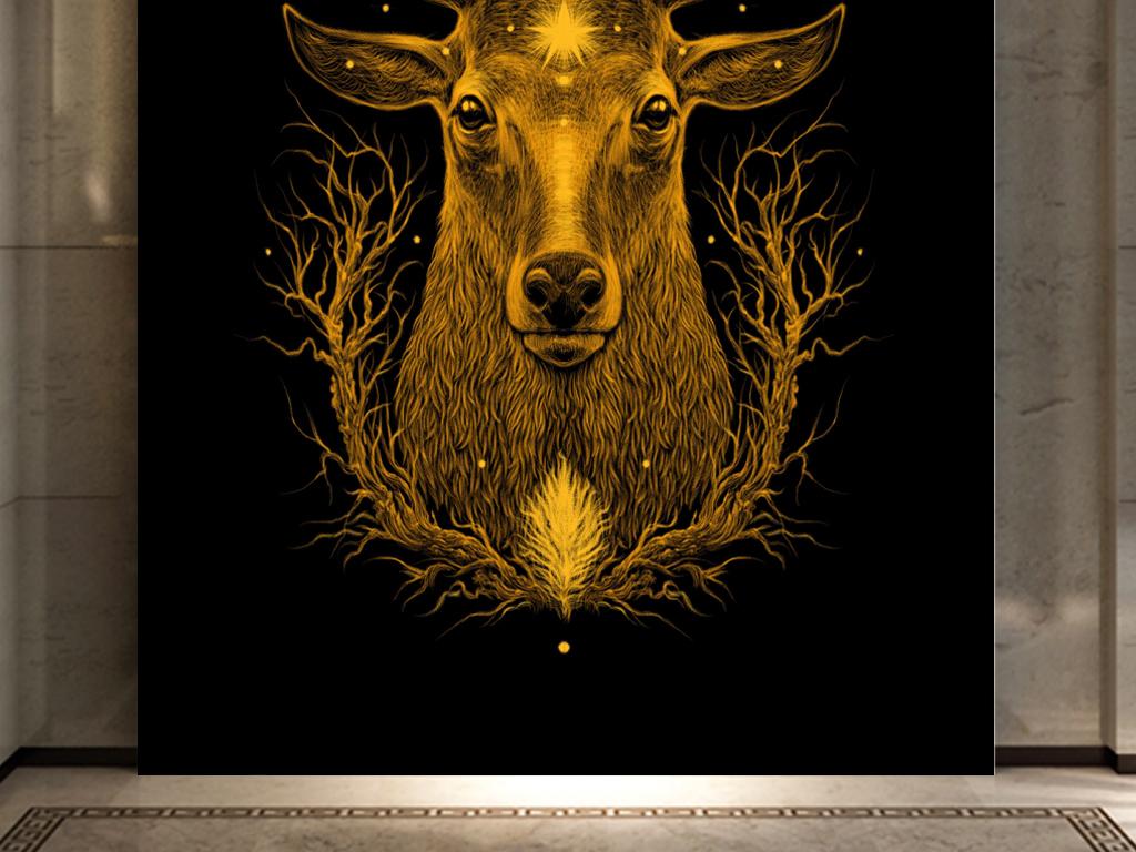 抽象金色鹿头装饰画