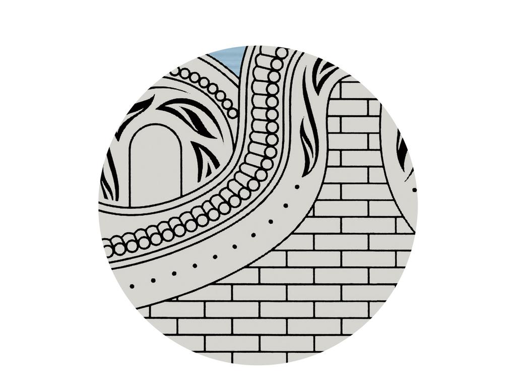 线描手绘新中式古代房子徽派建筑背景墙壁画