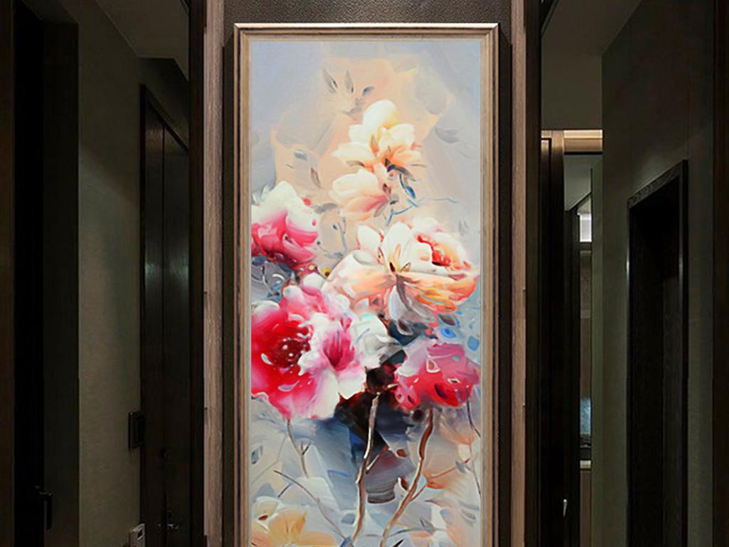 新中式牡丹情客厅玄关装饰画背景墙图片