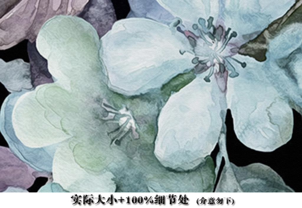 现代手绘黑白玉兰花装饰背景墙