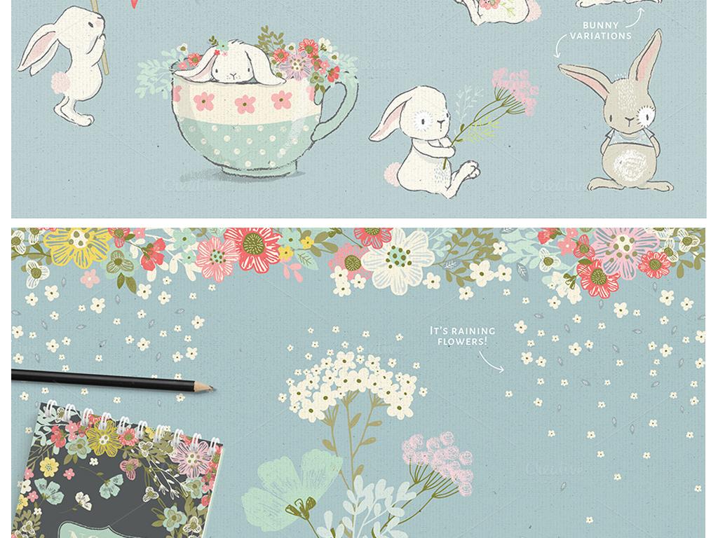 水彩画可爱q萌兔子手绘水彩png水彩剪贴画卡通