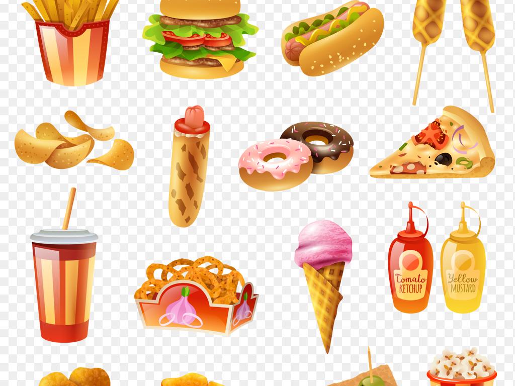 ai+png手绘快餐汉堡可乐薯条等食物餐厅海报必备素材