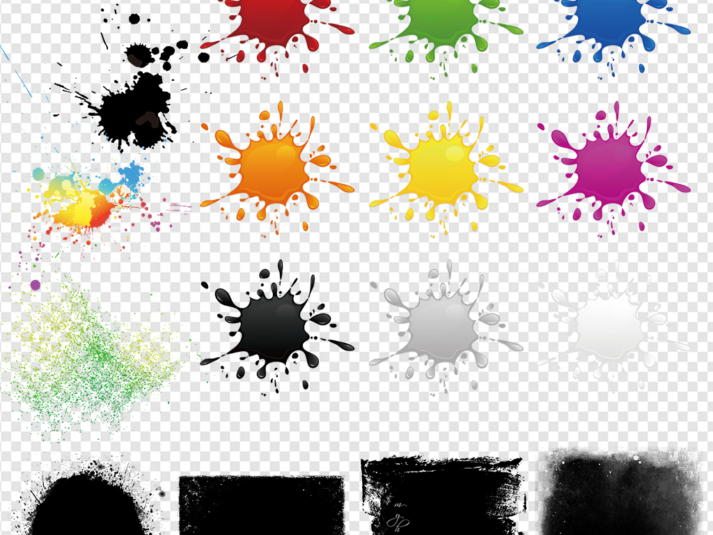 水彩水墨墨迹墨点喷墨泼墨ps素材图片下载png素材