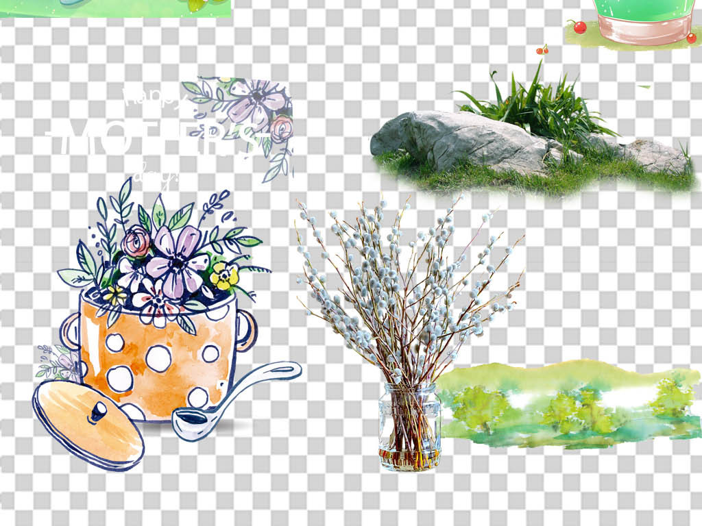 绿叶飞溅水珠北欧风格植物叶子简约风格元素简约小清新北欧风格简约