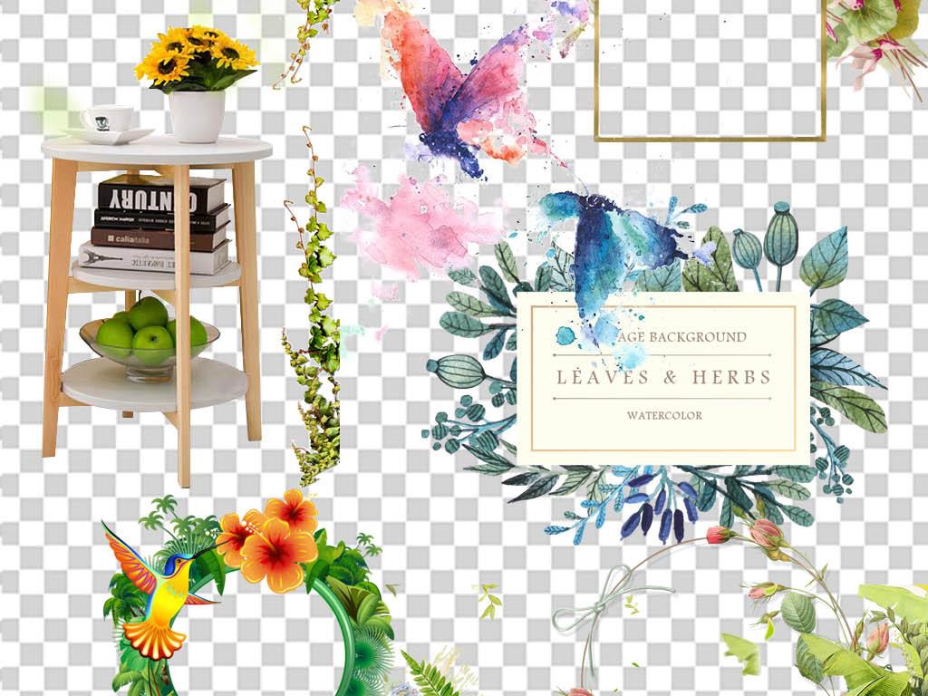 春夏促销海报小清新花环免扣装饰png素材