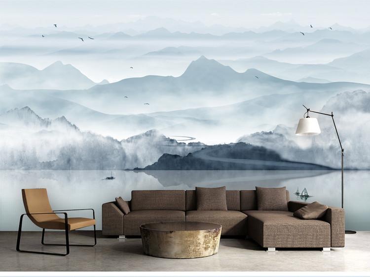 新中式水墨山水意境画电视背景墙