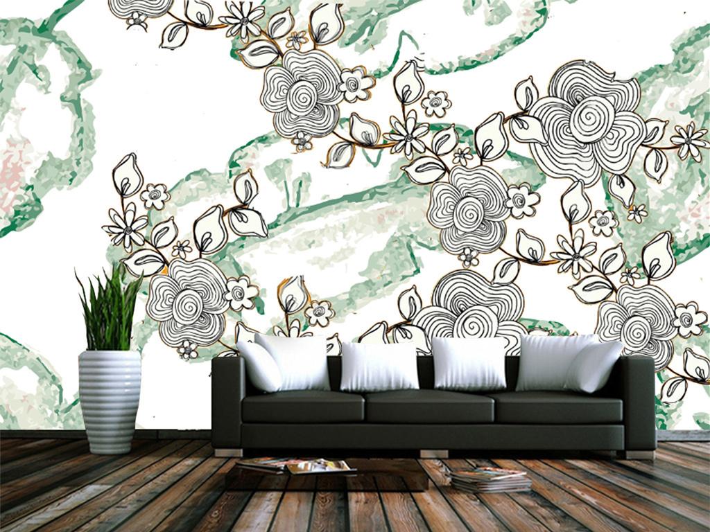新中式手绘花朵森林客厅电视背景墙