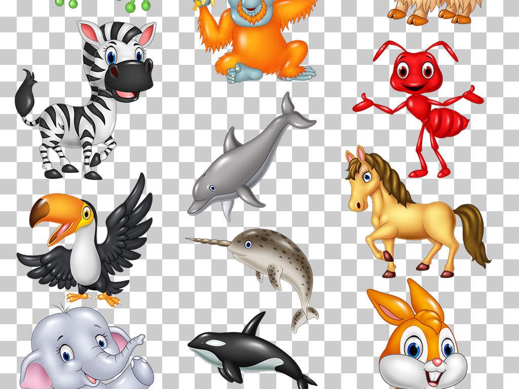 手绘卡通动物png素材合集
