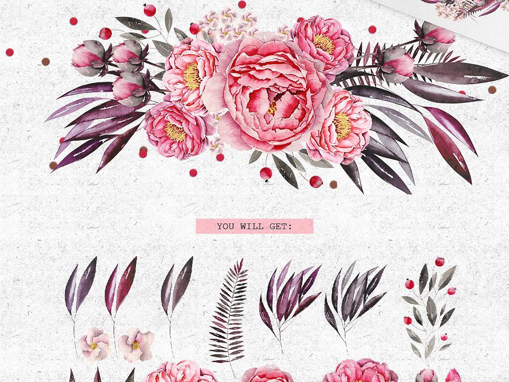 高清免扣水彩手绘花卉植物图案背景元素合集