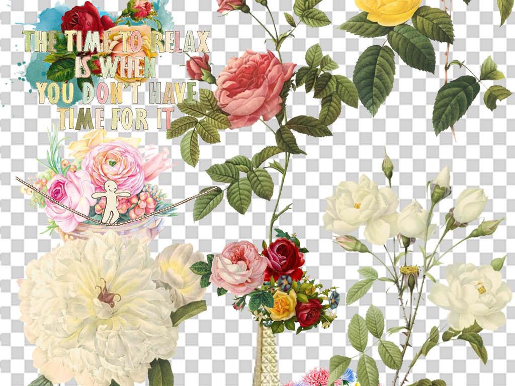 手绘花卉复古花卉复古欧美欧美复古元素复古元素欧美元素花卉元素卡通