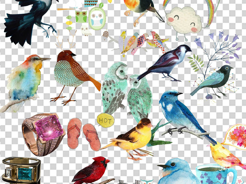 彩色鸟装饰画素材素材水彩花鸟花鸟手绘