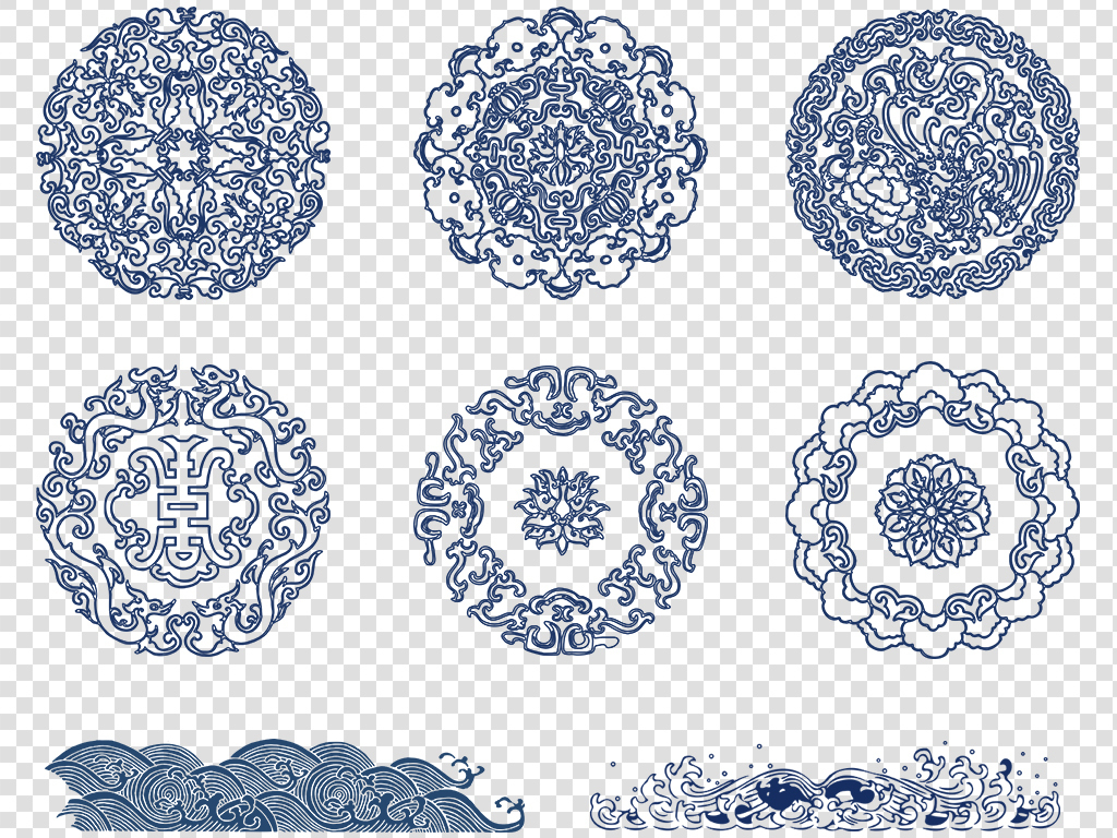 png)青花瓷花纹素材青花花纹png瓷器花纹素材中国古典花纹素材