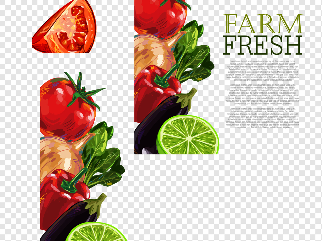eps png手绘水果蔬菜堆叠超市蔬菜餐厅美食海报必备素材