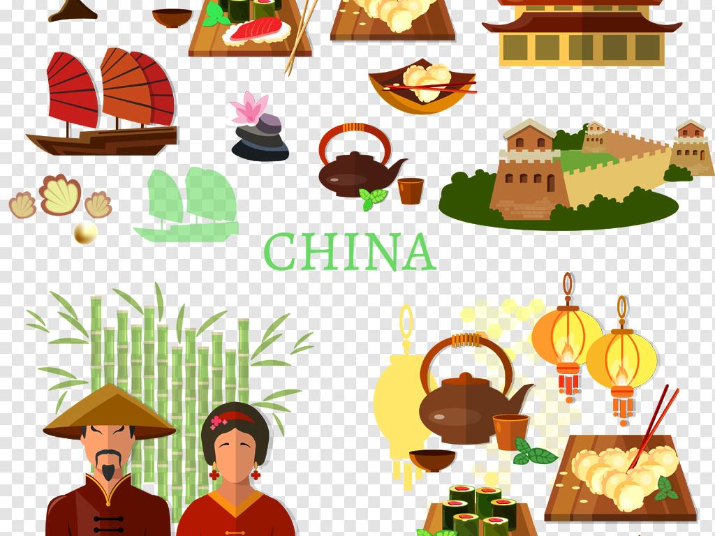 png)                                  扁平化手绘卡通中国风