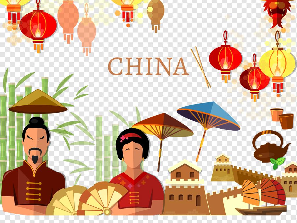 手绘中国风元素合集中国风海报素材下载,作品模板源文件可以编辑替换