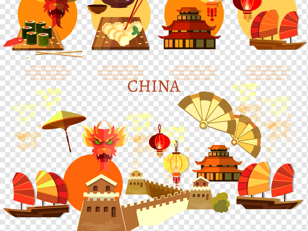 化手绘卡通中国风                                  中国元素美食