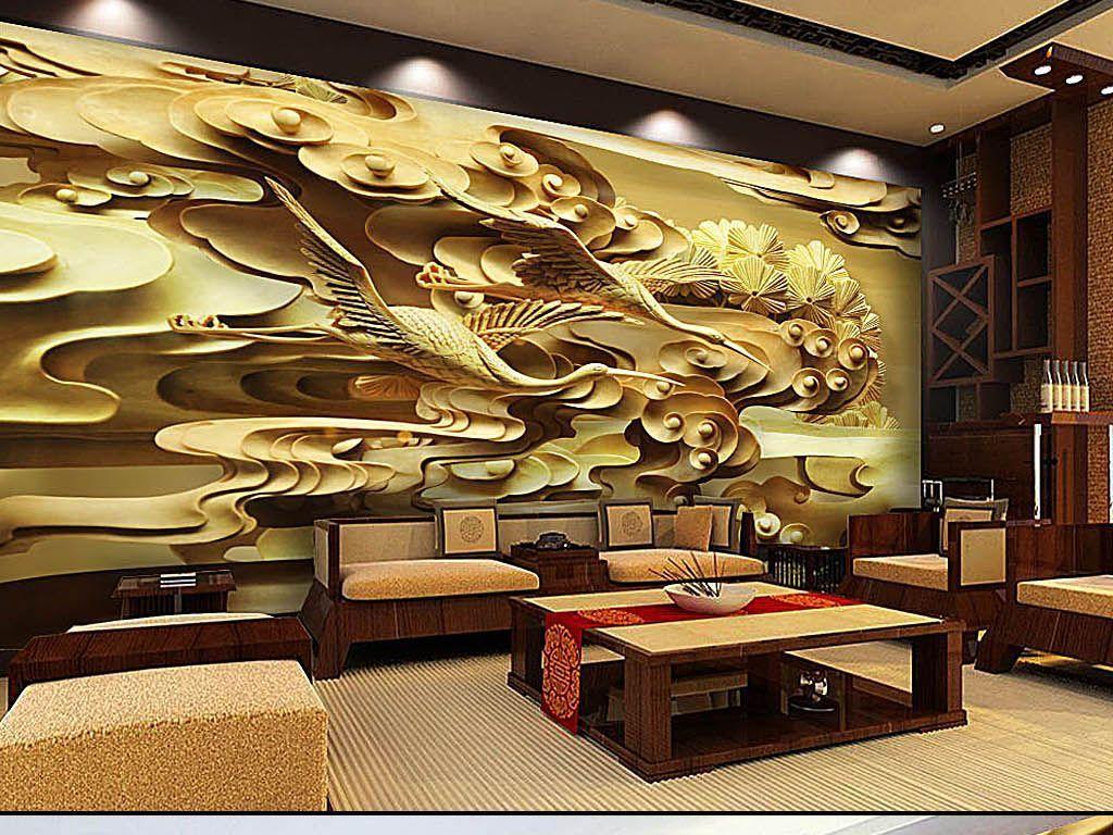 金色豪华古典仙鹤祥云木雕浮雕新中式背景墙
