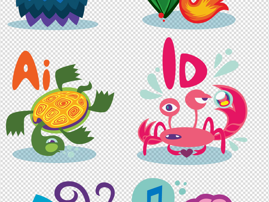 卡通动物png图标素材