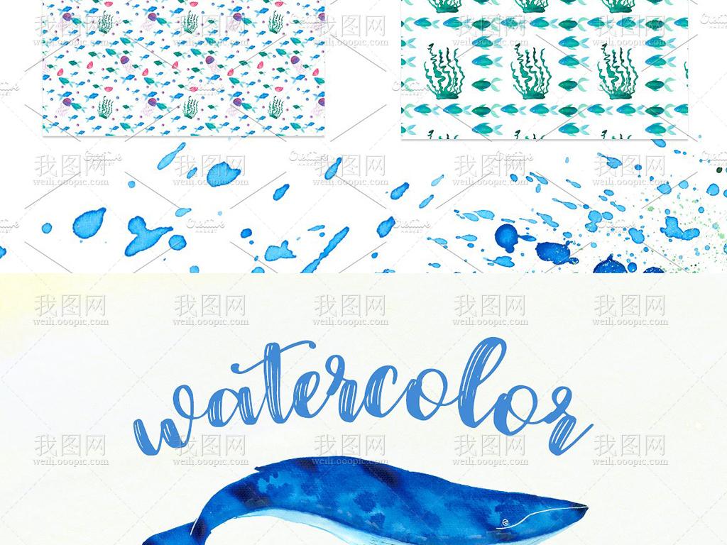 鲨鱼海蓝色手绘人物手绘墙手绘